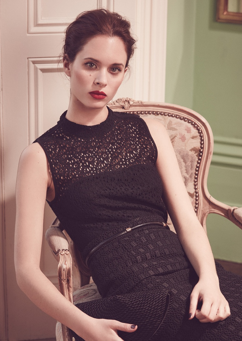 Reiss Leigh High-Neck Lace Top, Denise Lace Pencil Skirt and Margerita Cord-Detail Clutch Bag