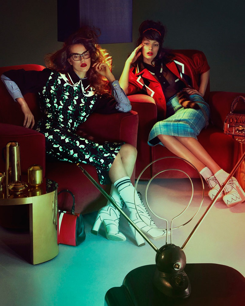 Photographed by Andrew Yee, the models wear retro inspired looks