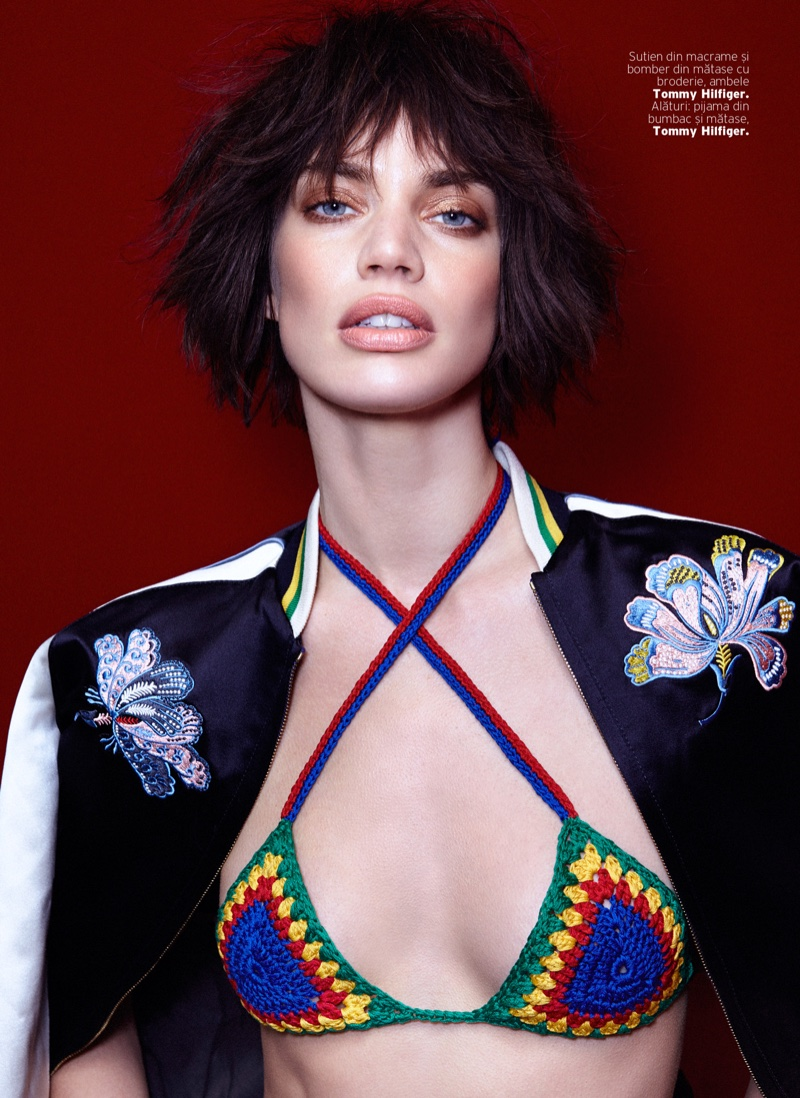 Wearing a short hairstyle, Rianne poses in Tommy Hilfiger crochet bikini top and embellished jacket
