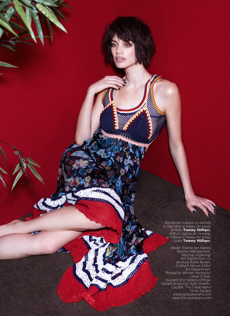 Rianne Ten Haken poses in Tommy Hilfiger macrame top with embellished dress
