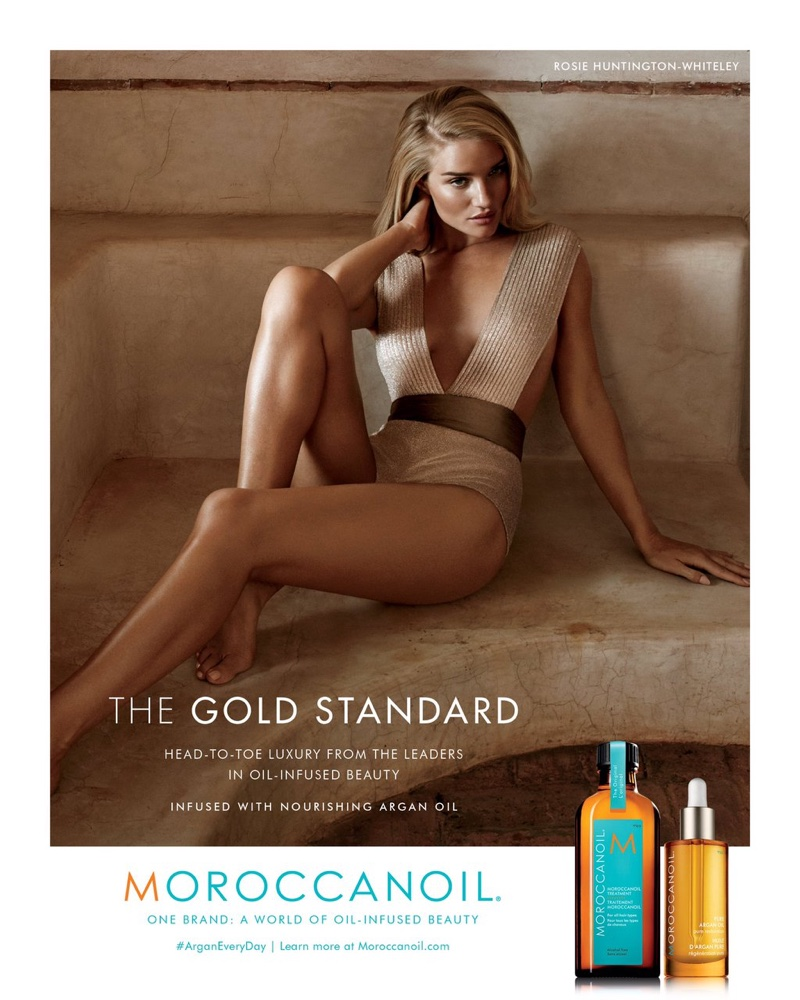 Rosie Huntington-Whiteley Flaunts Her Legs for Moroccanoil