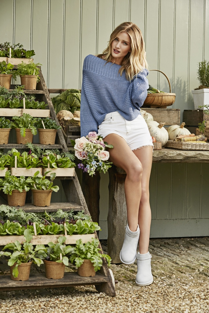 Rosie Huntington-Whiteley models UGG's Rella mini boot in frost