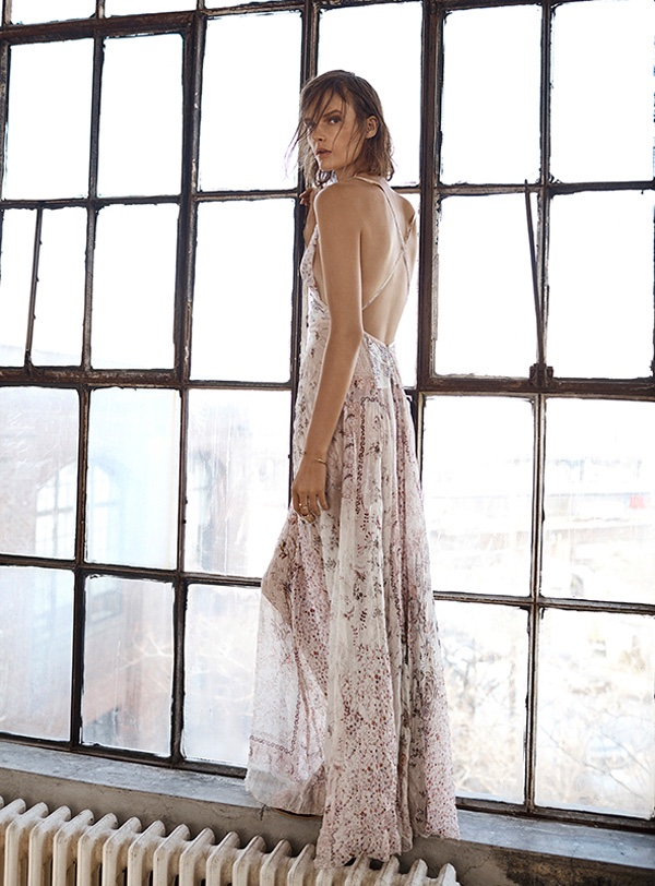 Sara poses in a semi-sheer silk maxi dress from Etro