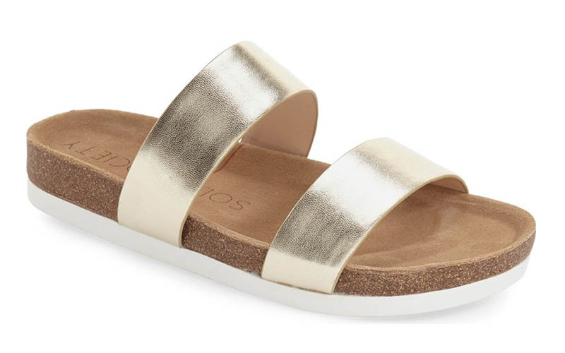 Sole Society Mae Slide Sandal in Soft Gold