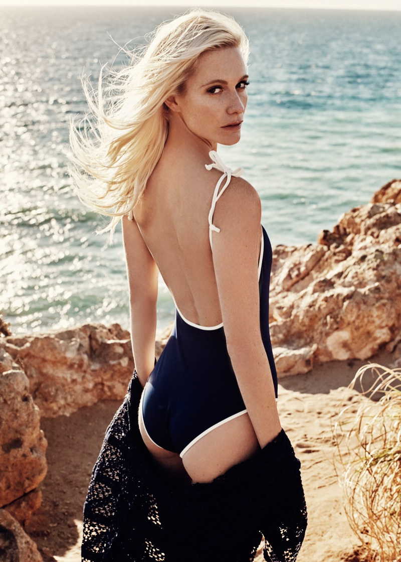 Poppy Delevingne poses in Solid & Striped Poppy one-piece swimsuit