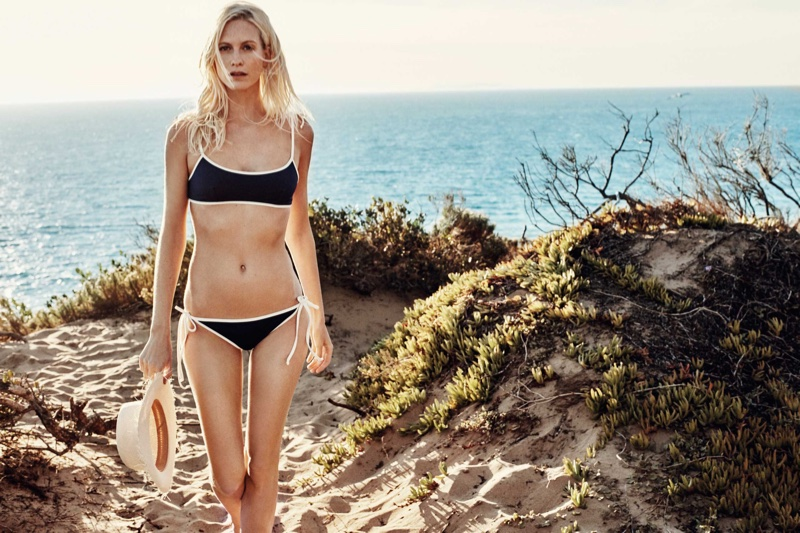 Poppy Delevingne models Solid & Striped's Poppy bikini top and bottoms