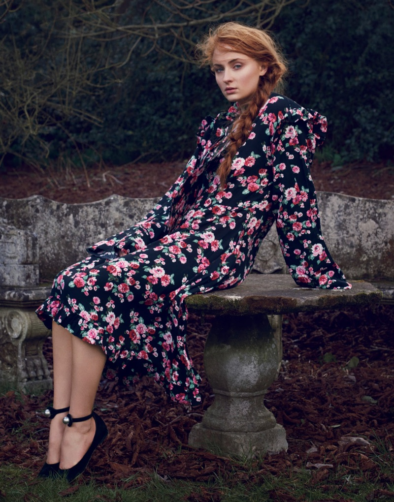 Sophie Turner poses in Vetements floral print dress with long sleeves