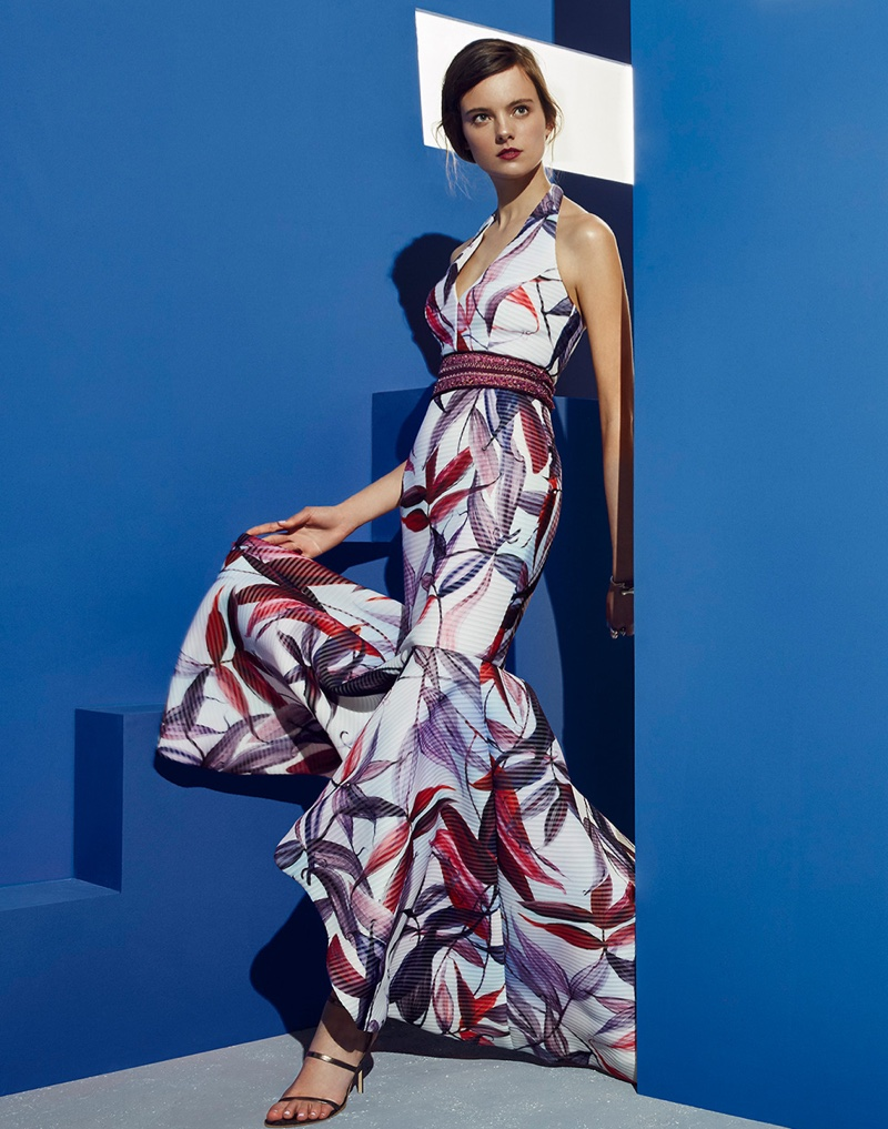 Badgley Mischka Floral Macrame Halter Gown, Oscar de la Renta Tulip Cuff Bracelet, Manolo Blahnik Wrap-Around Sandals