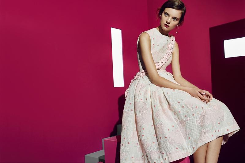 Simone Rocha Printed Bubble Dress, Simone Rocha Macramé Belt, Lizzie Fortunato Pearl Wire Drop Earrings