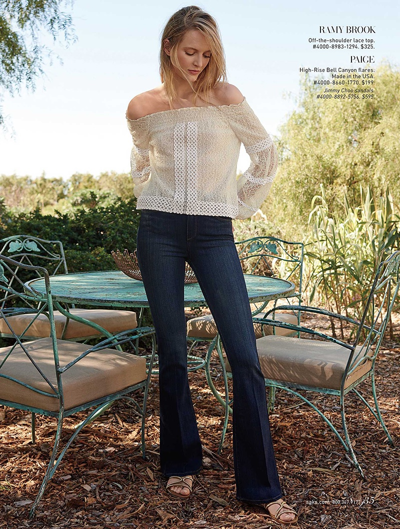 Ramy Brook Off-the-Shoulder Lace Top, Paige High-Rise Bell Canyon Flares and Jimmy Choo Sandals