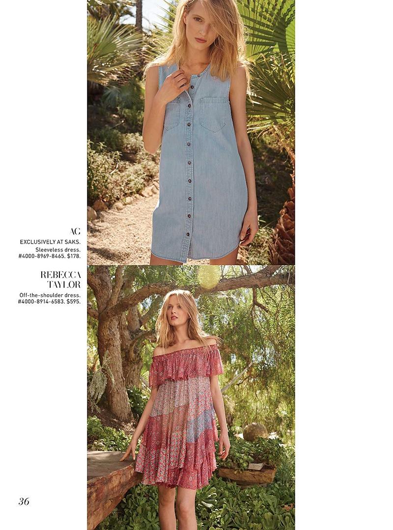 (Top) AG Sleeveless Denim Dress (Bottom) Rebecca Taylor Off the Shoulder Dress