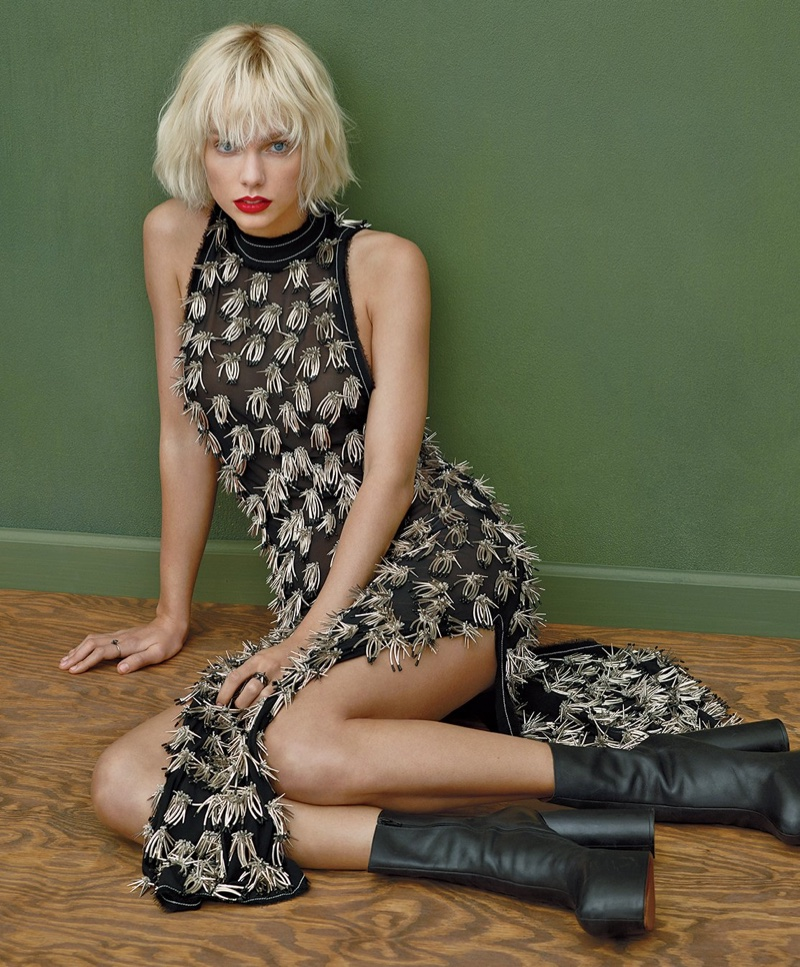 Taylor Swift looks rock and roll chic in embellished Proenza Schouler dress and black Vetements boots