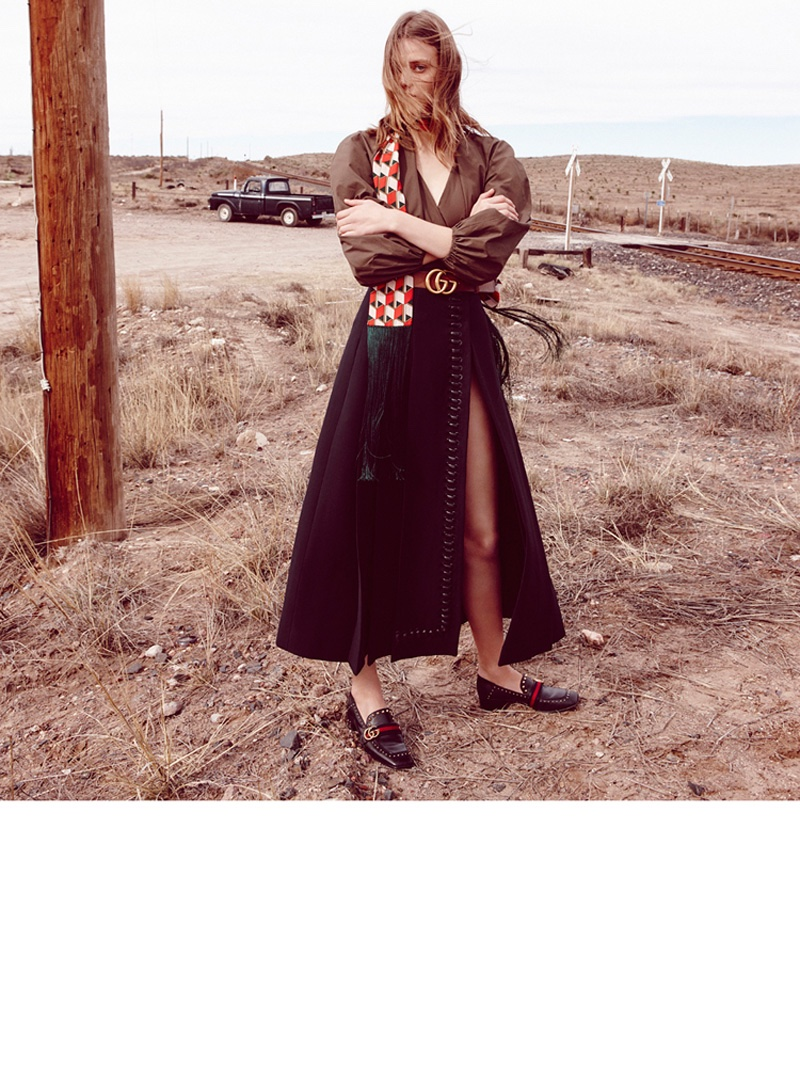 Tess Hellfeuer goes outdoors in a Fendi blouse, long skirt and Gucci loafers