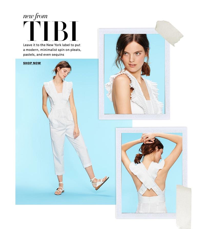 Tibi Pleated Ruffle Culotte Jumpsuit and Tibi Carmen Sandals
