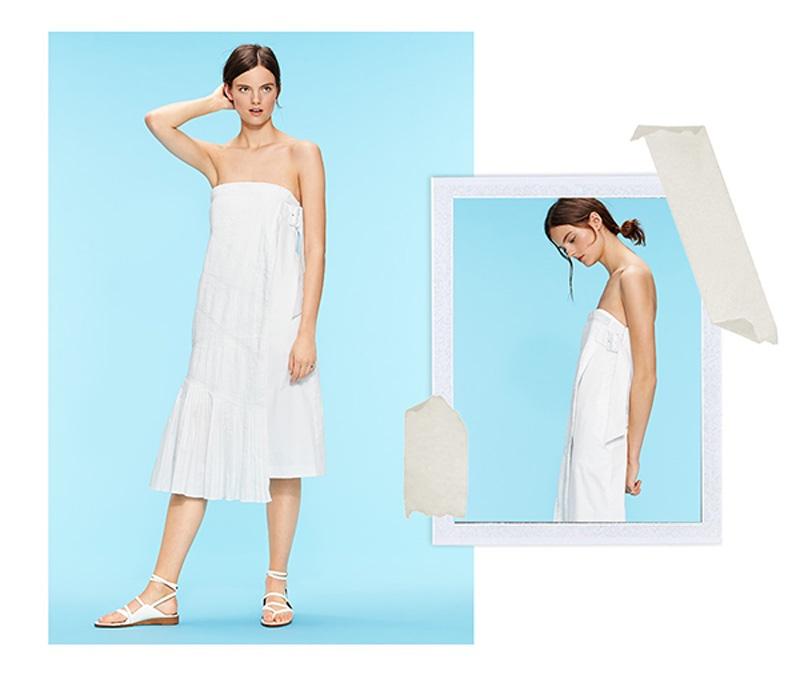 Tibi Manuella Strapless Dress and Carmen Sandals