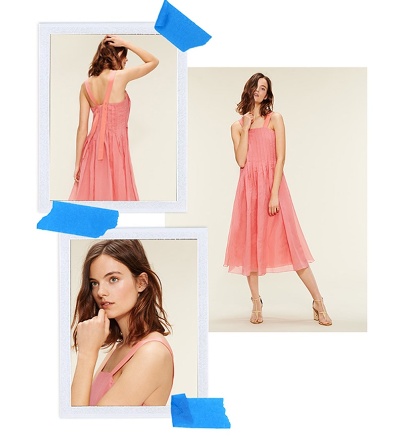 Tibi Isa Pleated Dress and Tibi Chloe Sandals