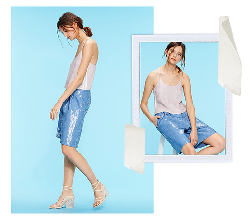 Tibi Allover Sequin Cami Top, Allover Sequin Shorts ad Faye Sandals