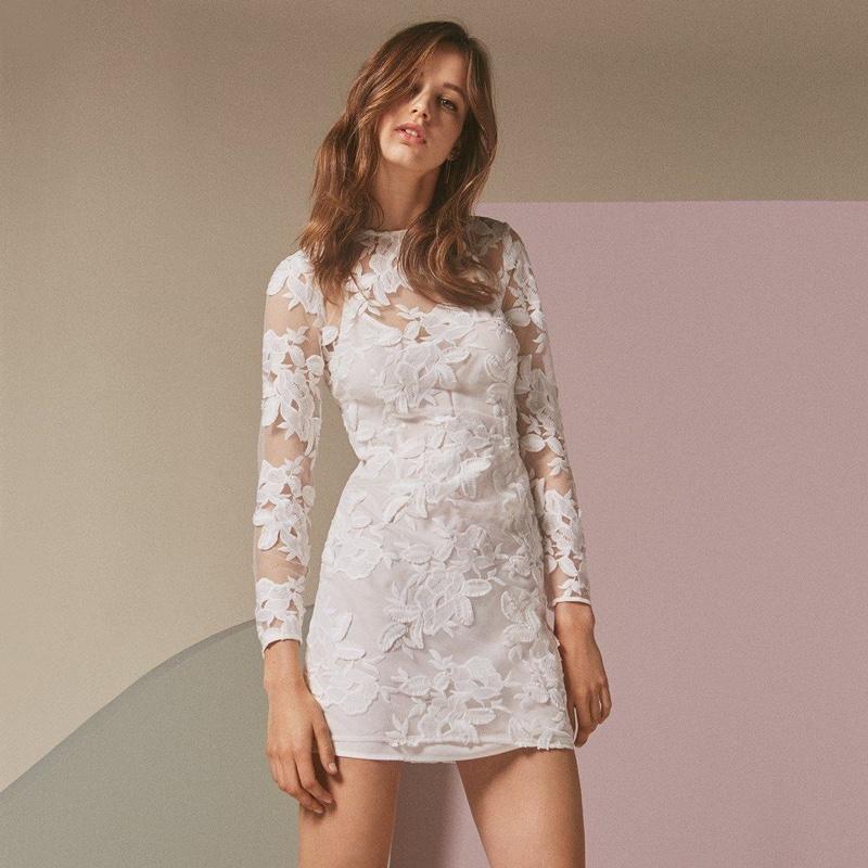 Topshop Applique Long Sleeve Mini Dress
