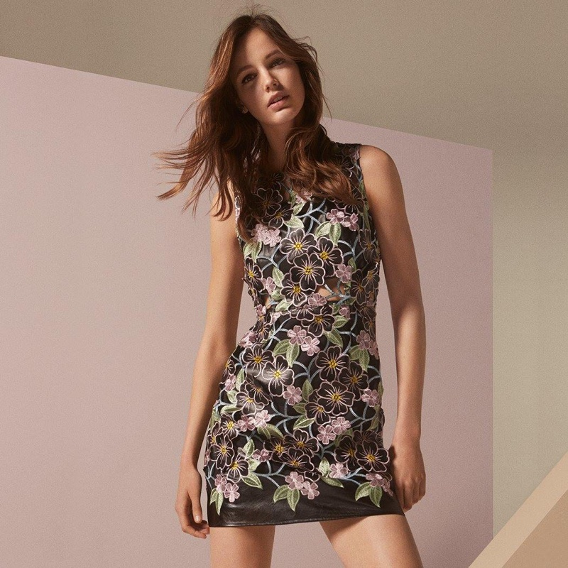 topshop, maybelline new york, trussardi topshop floral embroidered midi  dress, trussardi ...