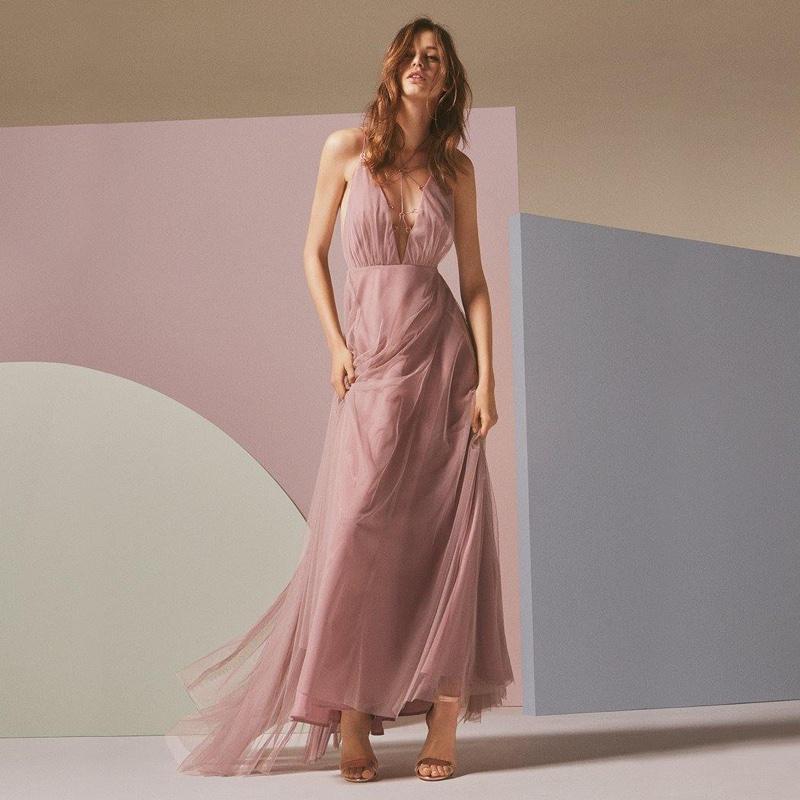 Topshop Tulle Lace-Up Maxi Dress