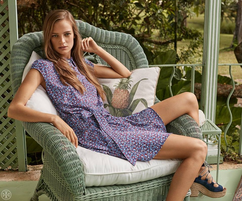 Tory Burch Gigi Shirtdress and Positano Lace-Up Platform Espadrille