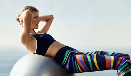 Tory Sport offers yoga ready looks with sports bra and multi-colored legging
