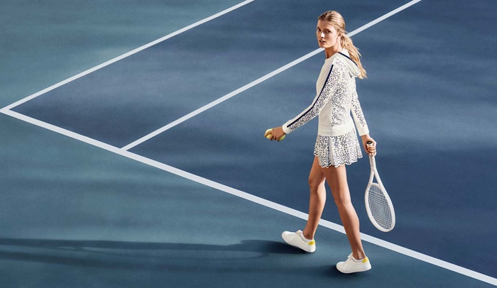 Get ready for some tennis in Tory Sport's laser-eyelet tennis jacket and matching dress