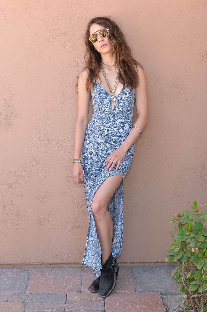Troian Bellisario wears Forever 21 lace-up maxi dress. Photo: Stefanie Keenan / Getty Images