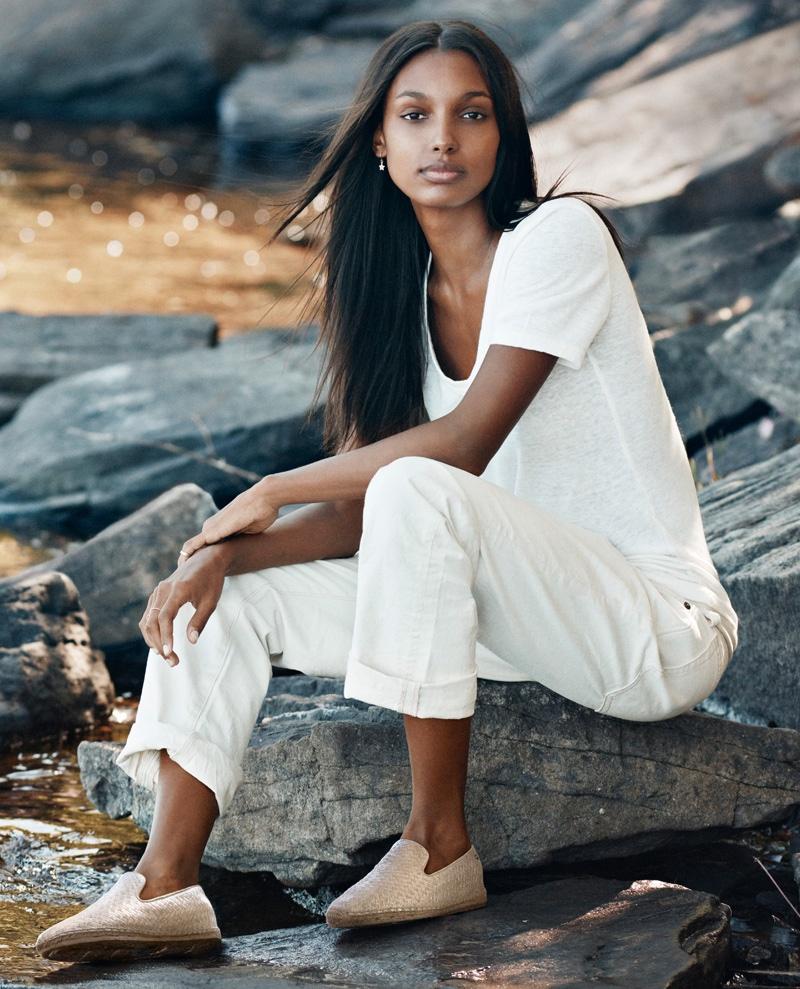 Jasmine Tookes models UGG® Sandrinne Metallic Espadrille