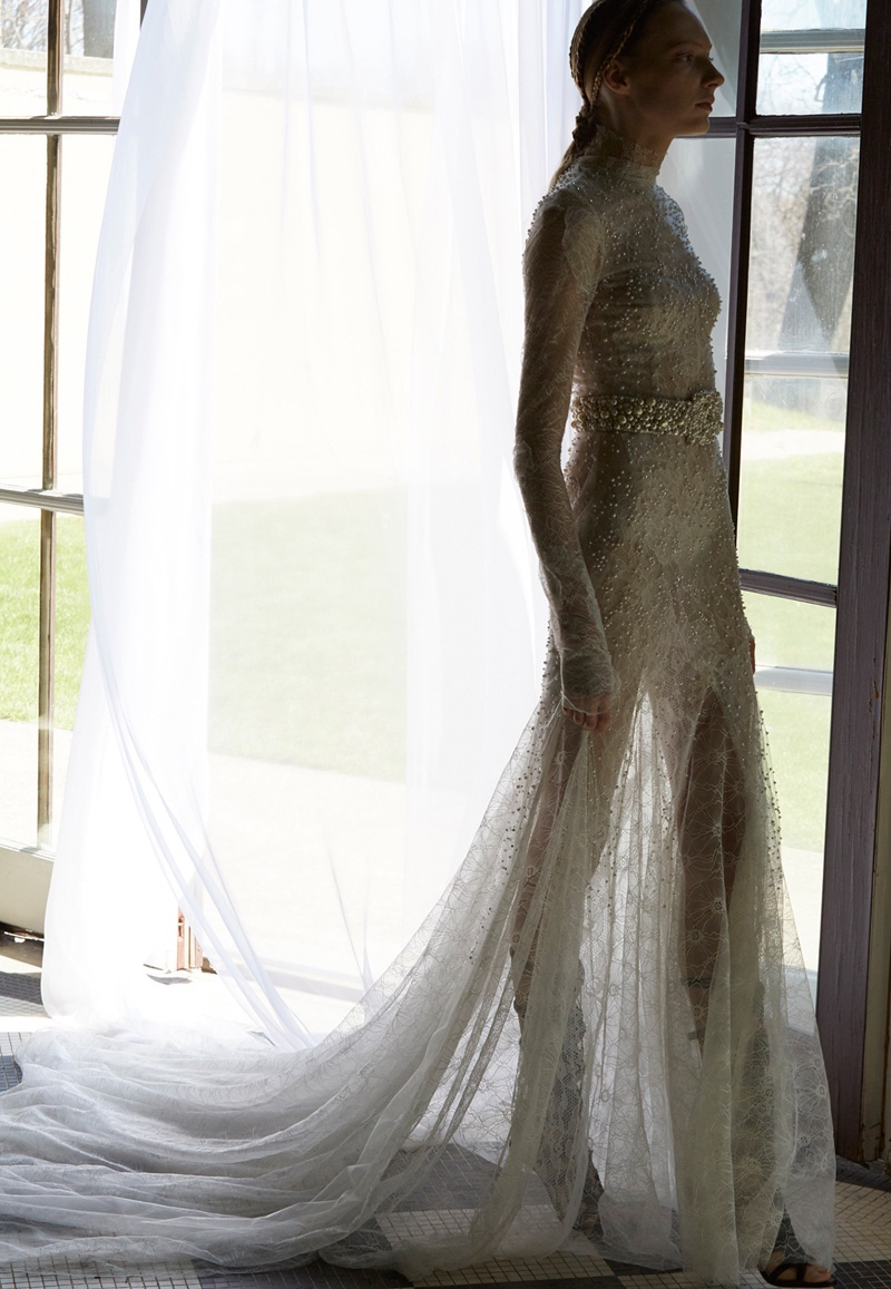 See the delicate lace of the long-sleeve Waverly gown from Vera Wang Bridal's spring 2017 collection