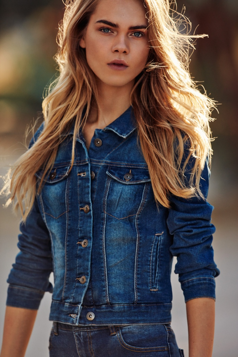 Line Brems models a denim jacket and pants in Vero Moda's spring 2016 campaign