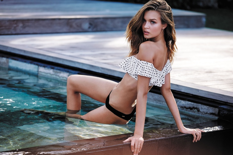 Josephine Skriver stars in Victoria's Secret Swim 2016 catalog wearing flounce crop top and itsy bottom