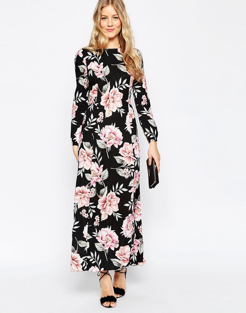 ASOS Floral Maxi Dress with Front Tie $78.00