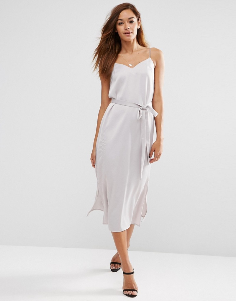 ASOS Midi Slip Dress in Satin with Tied Waist