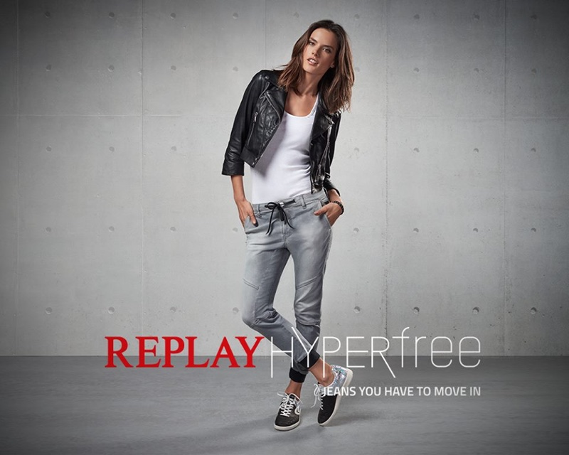 alessandra ambrosio shows off her moves for replay jeans. Black Bedroom Furniture Sets. Home Design Ideas