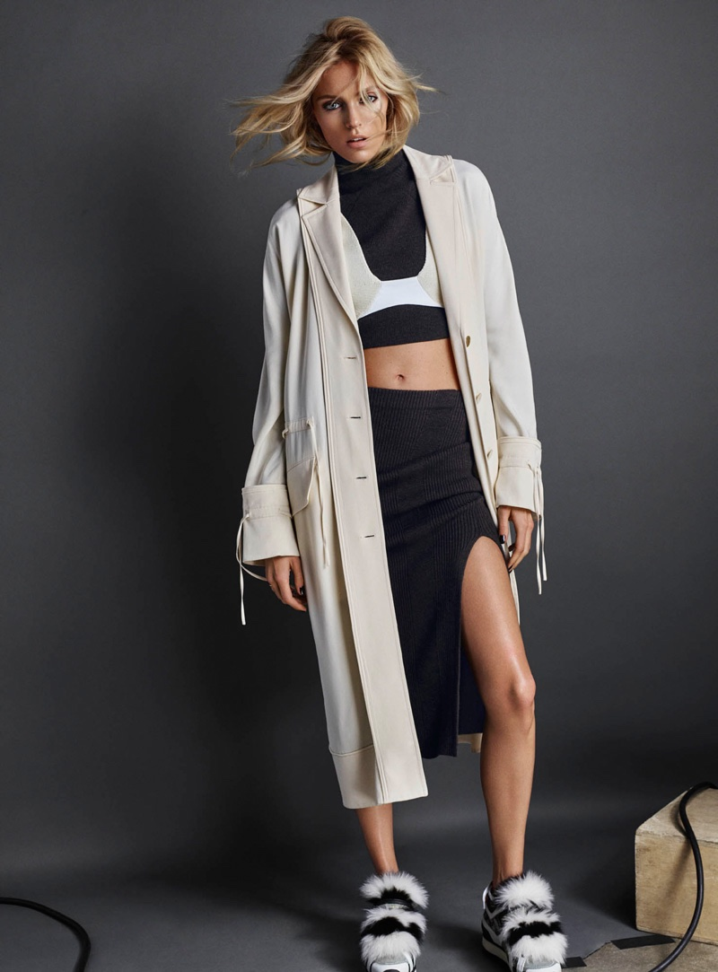 Photographed by Hunter & Gatti, Anja Rubik poses in transitional looks