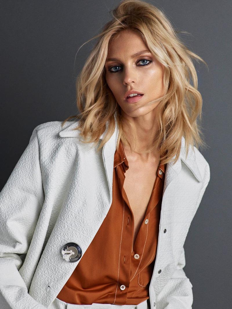 Anja Rubik layers up in jacket and shirt look