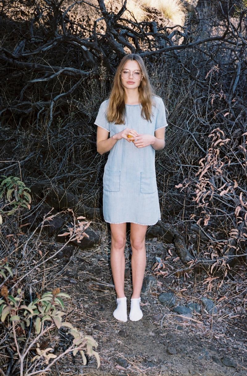The model goes outdoors in BB Dakota's Rafe denim shirt dress