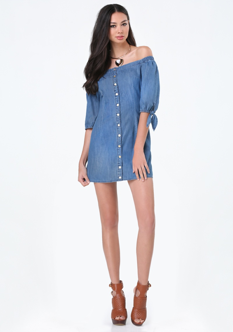 Bebe Off-the-Shoulder Denim Shirtdress