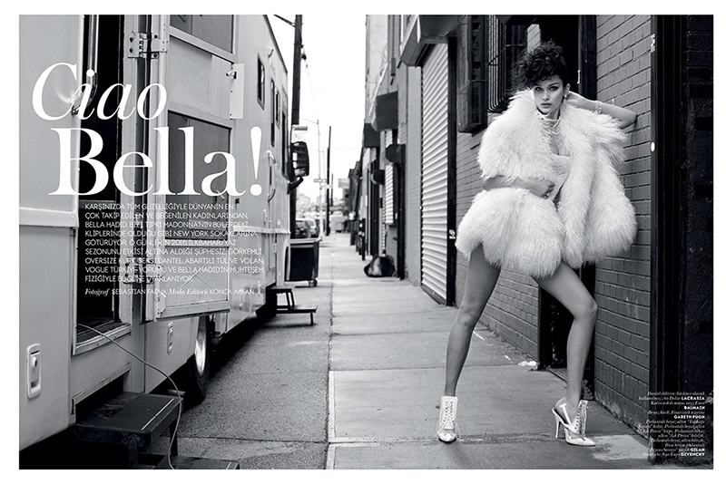Bella Hadid plays a movie star on set for the fashion editorial