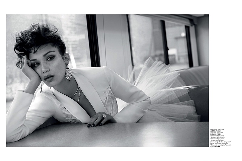 Captured in black and white, Bella Hadid models Just Cavalli jacket with Philipp Plein tulle ballerina skirt