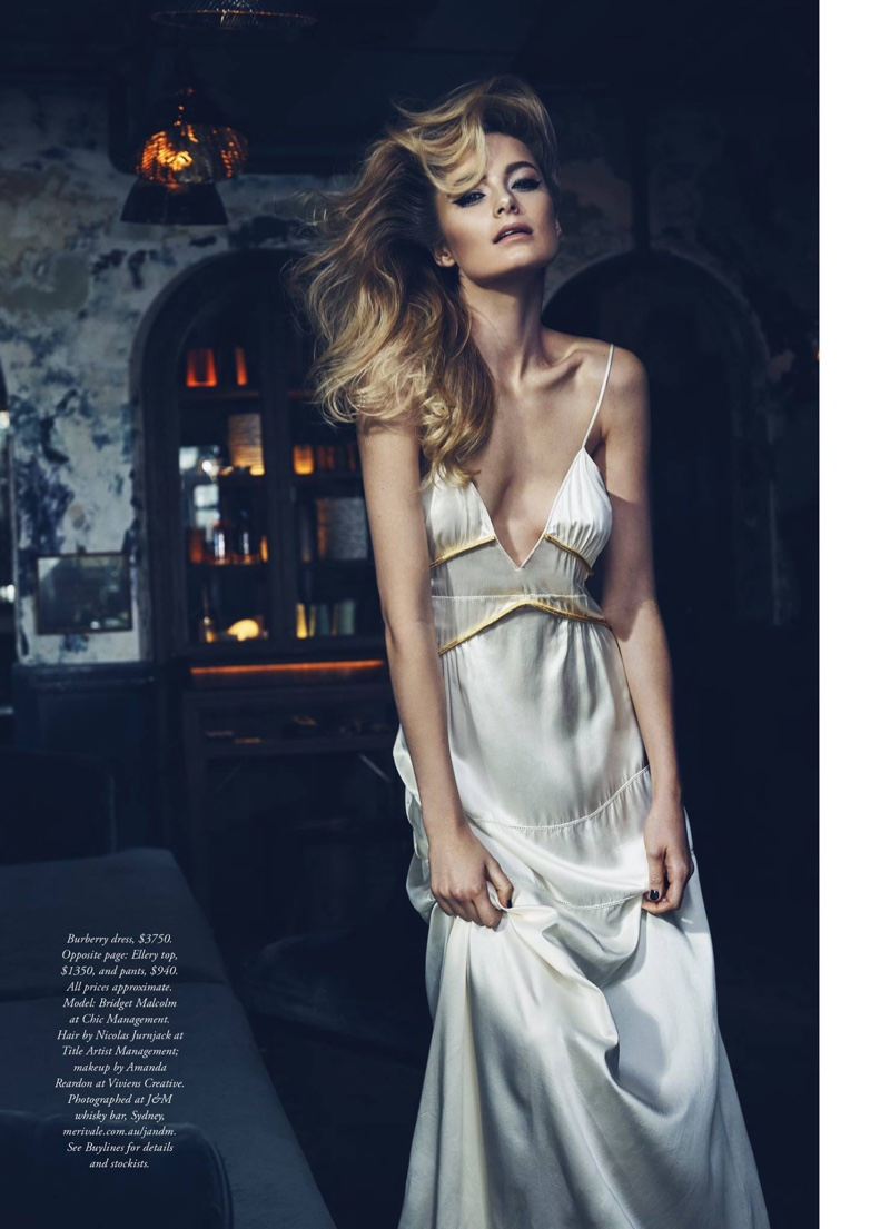 Bridget Malcolm poses in white Burberry slip dress