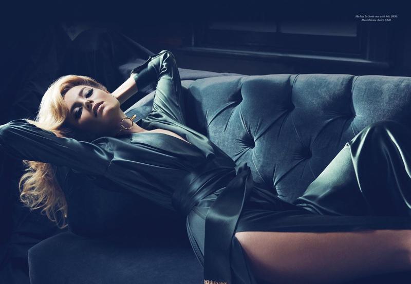 Bridget Malcolm lounges in a Michael Lo Sordo wrap dress