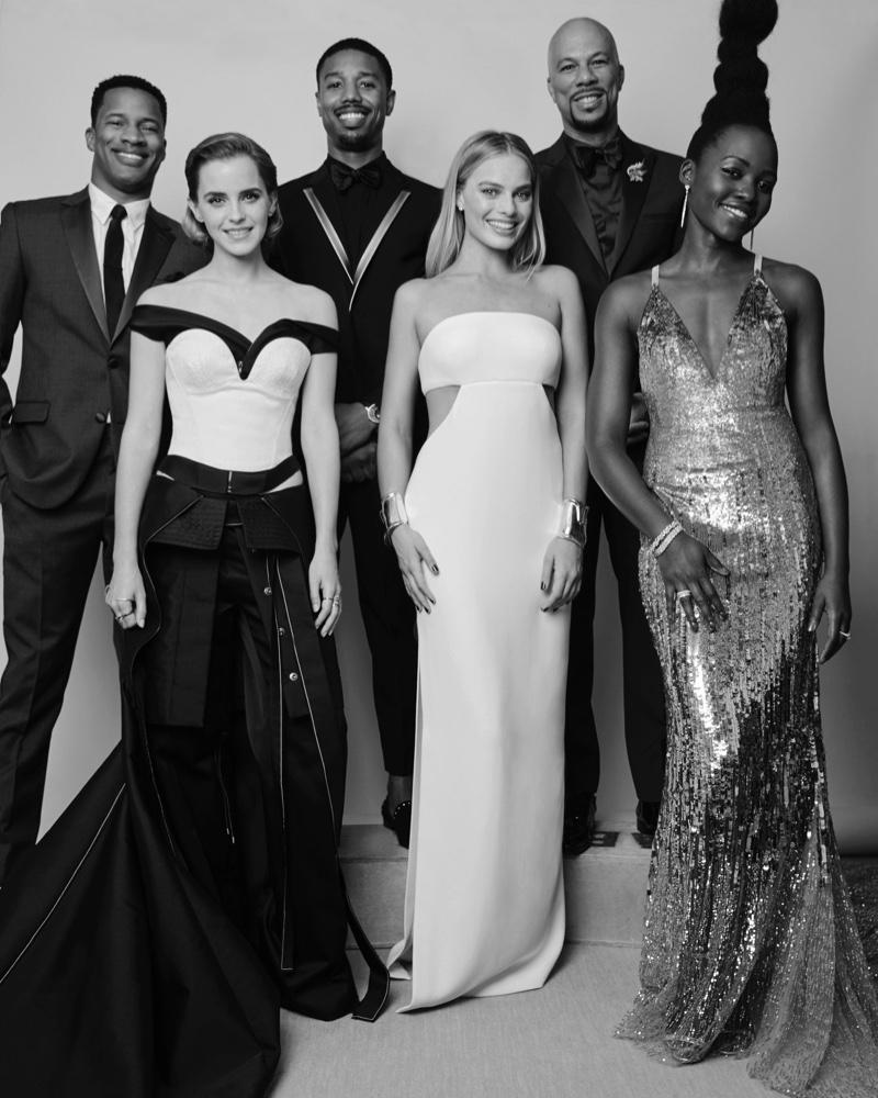 Calvin Klein Collection 2016 Met Gala Portrait: Emma Watson, Margot Robbie and Lupita Nyong'o. Men: Nate Parker, Michael B. Jordan and Common. Photo: Thomas Giddings for Calvin Klein
