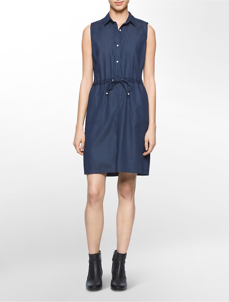 Calvin Klein Jeans Drawstring Chambray Dress