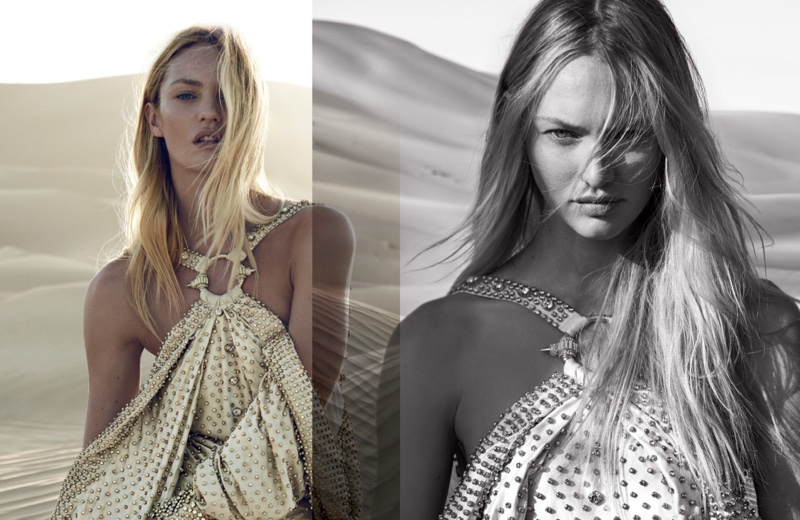 Candice Swanepoel was photographed by Peter Lindbergh for Givenchy's Dahlia Divin Le Nectar perfume