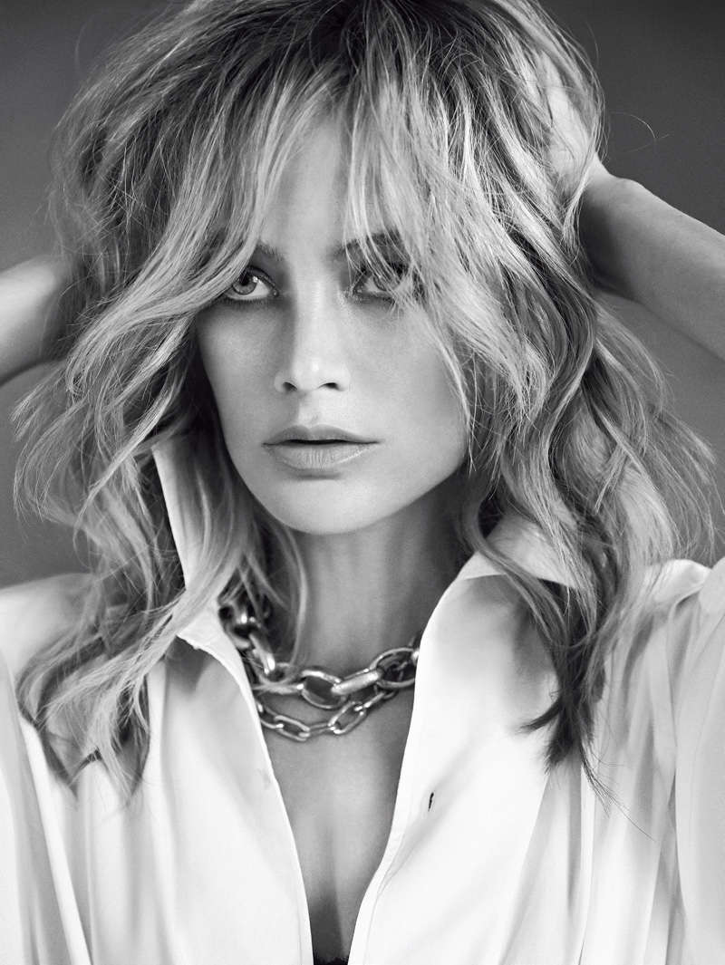 Carolyn Murphy gets her closeup in this black and white shot