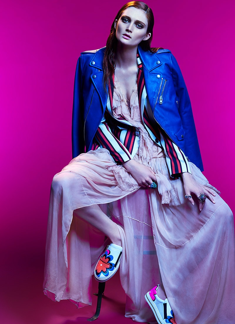 Sophie layers up in Coach 1941 moto jacket, striped Smythe blazer, Roberto Cavalli dress and Roger Vivier slip-on shoes