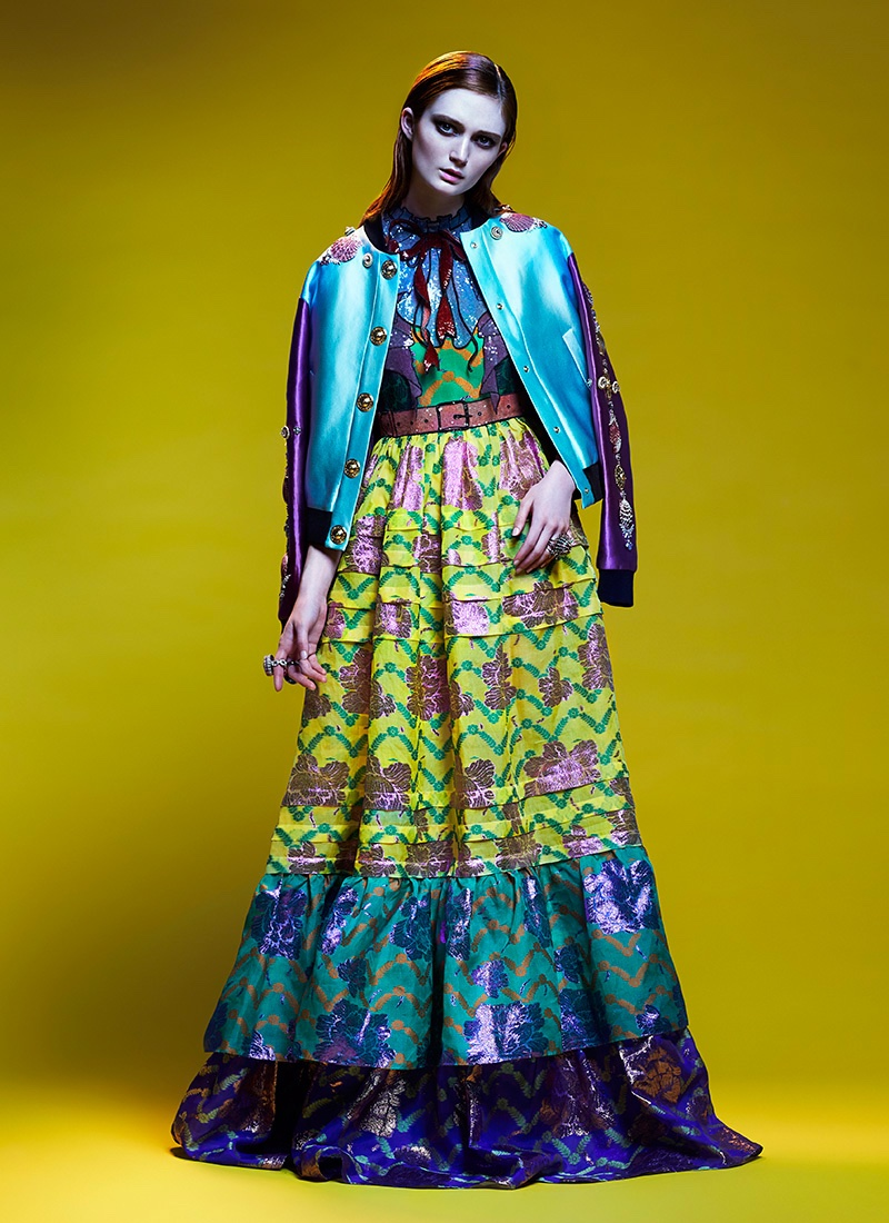 Sophie poses in embellished Fausto Puglisi jacket with multi-colored Gucci dress