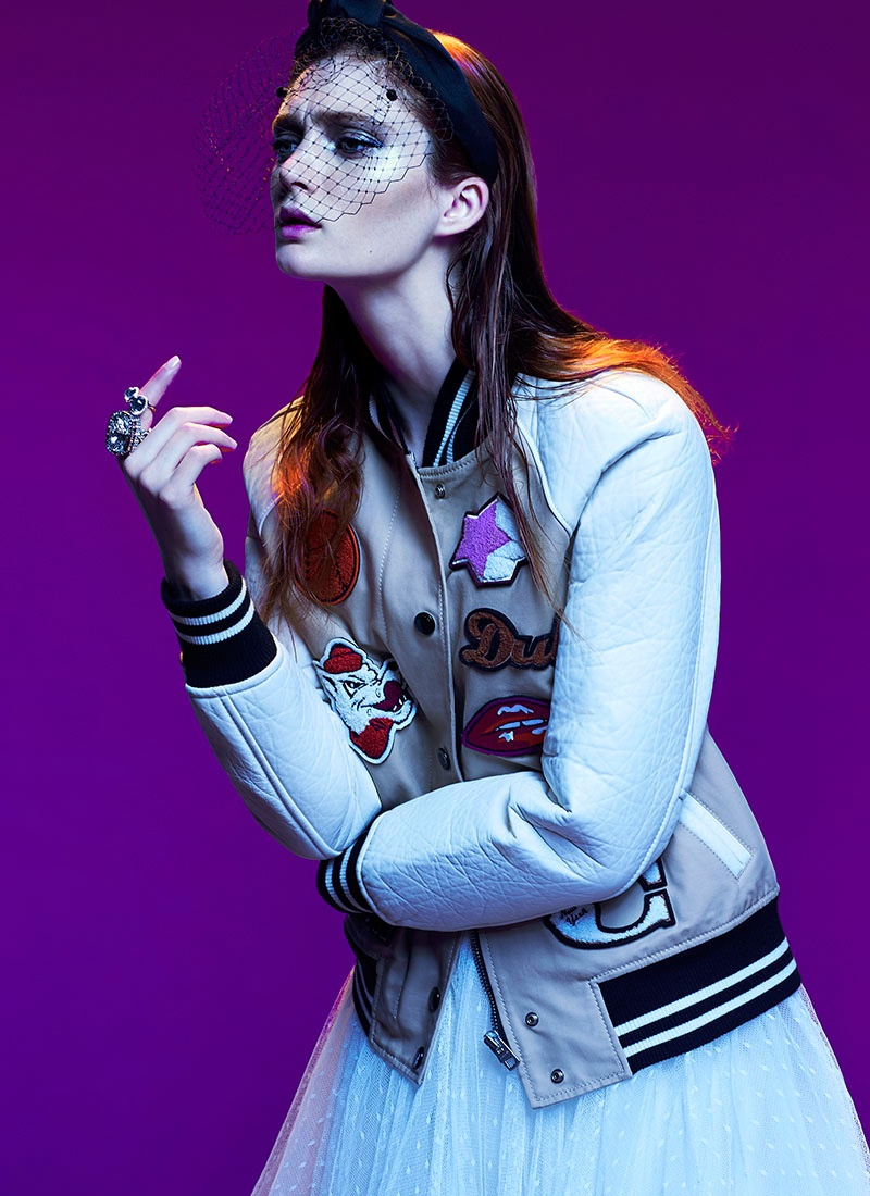 Sophie poses in Coach jacket with Romona Keveza dress and Eugenia Kim headband